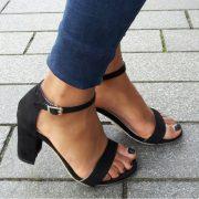 Zwart sandaaltje in kleine maten met brede hak   SILHOUETTE