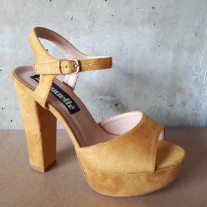 Gele open schoenen met blokhak | Gele hoge hakken | Gele blokhakken