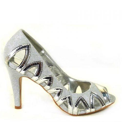 Zilveren glitterhakken | Feestschoenen in zilver | Zilveren pumps met hak