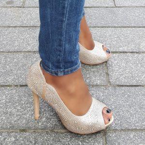 Feestschoenen met glitters in rose goud met naaldhak | Glitterhakken in goud