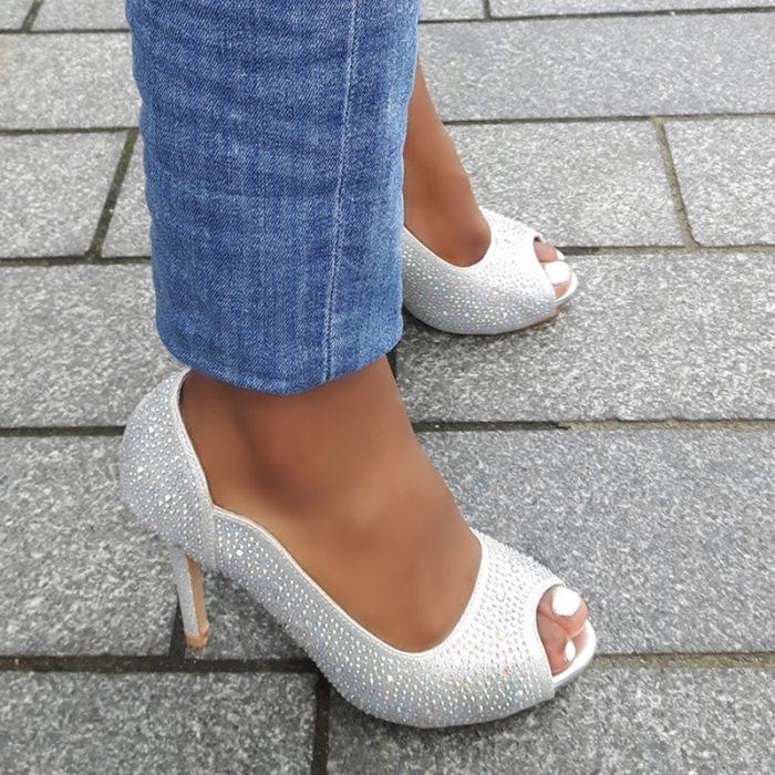 Trouwschoenen of feestschoenen met glitters in zilver met naaldhak | Silhouette