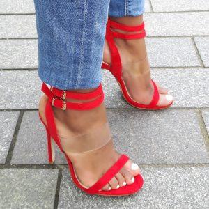 Rode perspex hakken met dubbele enkelband en naaldhak | Silhouette