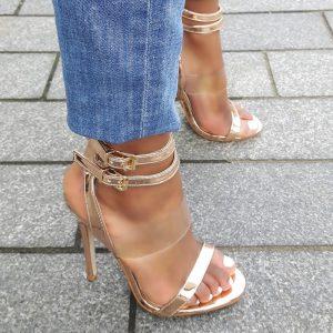 Rosé sandalettes met dubbele enkelband en naaldhak | Silhouette