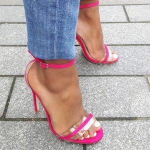 Fuchsia open schoenen met naaldhakken | Fel roze stiletto hakken
