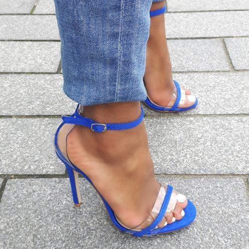 Kobaltblauwe sandalettes met naaldhakken | Koningsblauwe hoge hakken