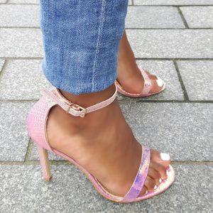 Mermaid sandaaltje met hoge hak in metallic roze en rosé goud | Zeemeermin hak