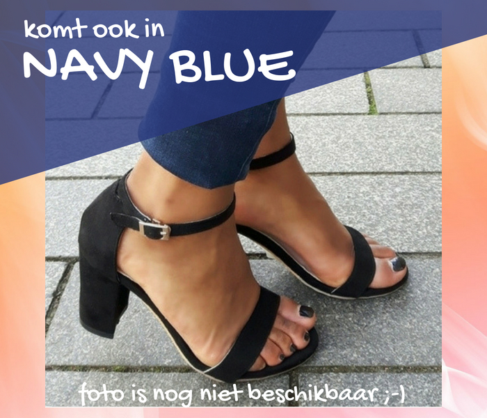 Blokhak blauw 8 cm