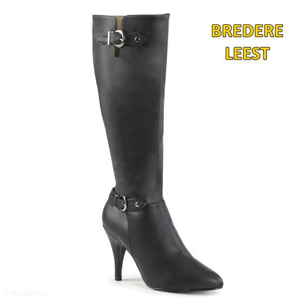 Zwarte laarzen voor brede voet in grote maten met gesp | Dameslaarzen grote maat
