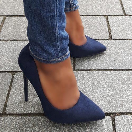 Klassieke stiletto pumps in donkerblauw | Donkerblauwe hoge hakken