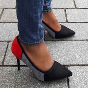 Gekleurde pumps met naaldhakken | Goedkope pumps in zwart grijs rood