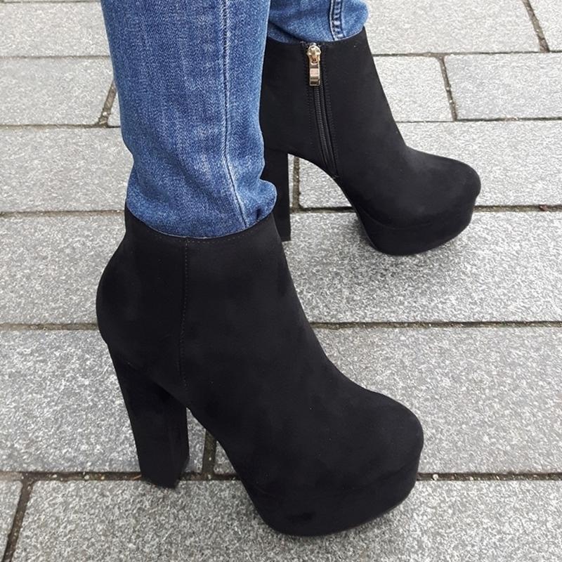 Zwarte enkellaarzen met dikke hakken en dikke zool | Chunky heels boots