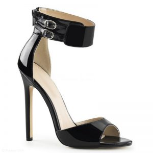 Zwarte sandalette met super hoge naaldhakken