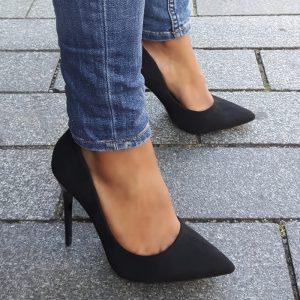 Zwarte stiletto hakken met panterprint | Zwarte hakken met panterprint zool