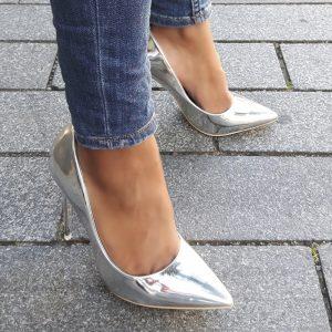 Metallic pumps in zilver met hoge stiletto hak | Zilveren Hoge Hakken