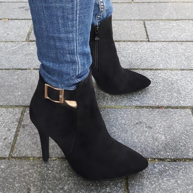 Dames enkellaarzen in kleine maten | Korte laarzen met hoge hak maat 34