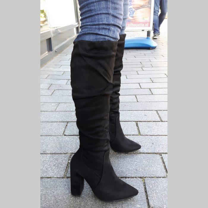 Zwarte hoge laarzen met blokhak | Knie laarzen dikke hak | Silhouette