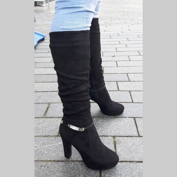 Laarzen tot onder de knie | Zwarte knielaarzen met hak | Silhouette