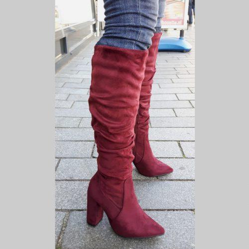 Hoge laarzen bordeaux rood blokhak | Knie laarzen dikke hak | Silhouette