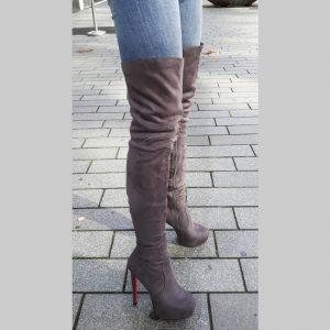 Grijze overknee laarzen met rode zool en naaldhakken | SILHOUETTE