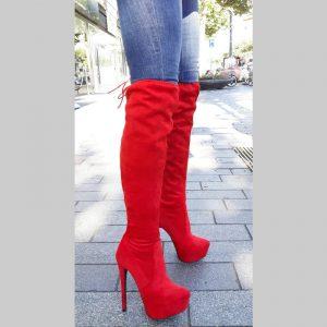 Rode korte overkneelaarzen zonder rits | Rode soklaarzen met naaldhak