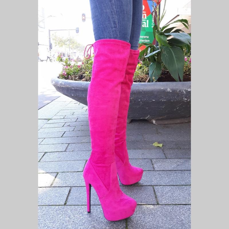 Fuchsia overkneelaarzen met naaldhakken | Felroze hoge laarzen