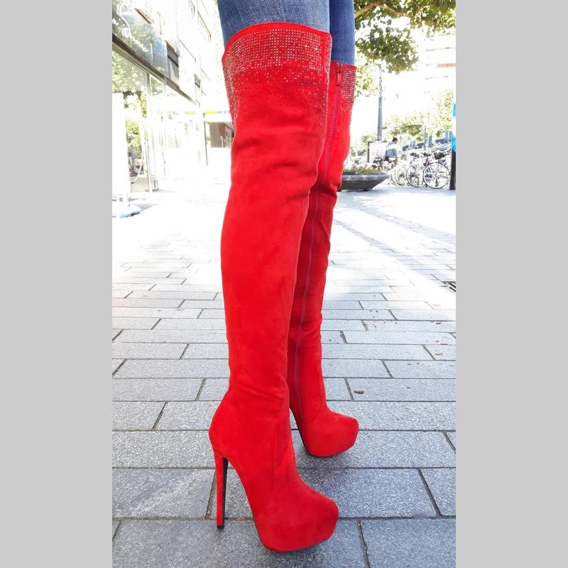 Overknee laarzen rood met strass, naaldhak en plateauzool | Silhouette