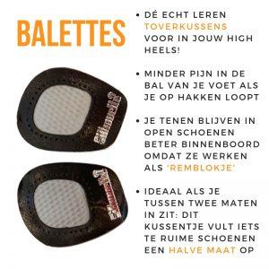 Zwarte balettes - geen pijn in je voeten in hoge hakken | Alternatief Gelpad