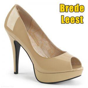 Beige peeptoe pumps | Comfortabele pumps hoge hak | Drag schoenen