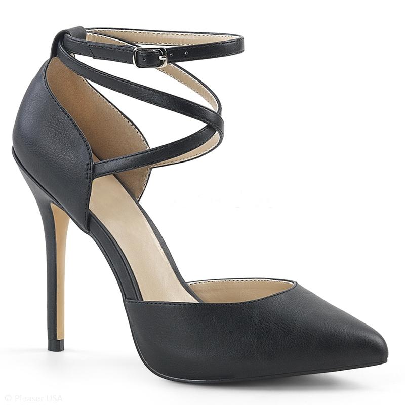 Zwarte pumps met naaldhakken en bandjes over de voet | Silhouette