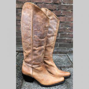 Beige- cognackleurige leren laarzen   Goedkope cowboy laarzen