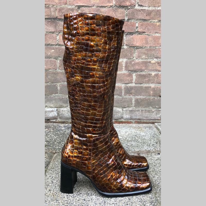 Bruine laars met blokhak en reptielprint | Bruine kroko laarzen