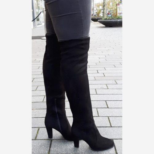 Zwarte overknee laarzen met blokhak | Stretch overknees dikke kuiten | Overkneelaarzen stretch voor dunne kuiten