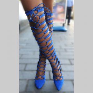 Hoge veterlaarzen kobaltblauw | Blauwe veterlaarzen hoge hak | Silhouette
