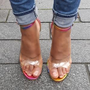 Multicolour open schoentjes met hoge hakken met doorzichtige bandjes