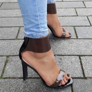 Doorzichtige zwarte sandalen met hoge hak | Transparante hakken zwart