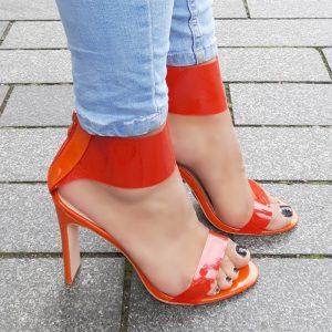 Oranje sandalen met hoge hakken | Oranje hakken doorzichtig | Silhouette