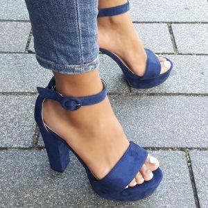 Blauwe hoge blokhakken met dichte hiel en enkelband | Billink betalen