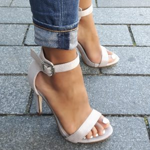 Grijze sandalettes met hoge hak en plateau | Licht grijze sandalen met hak