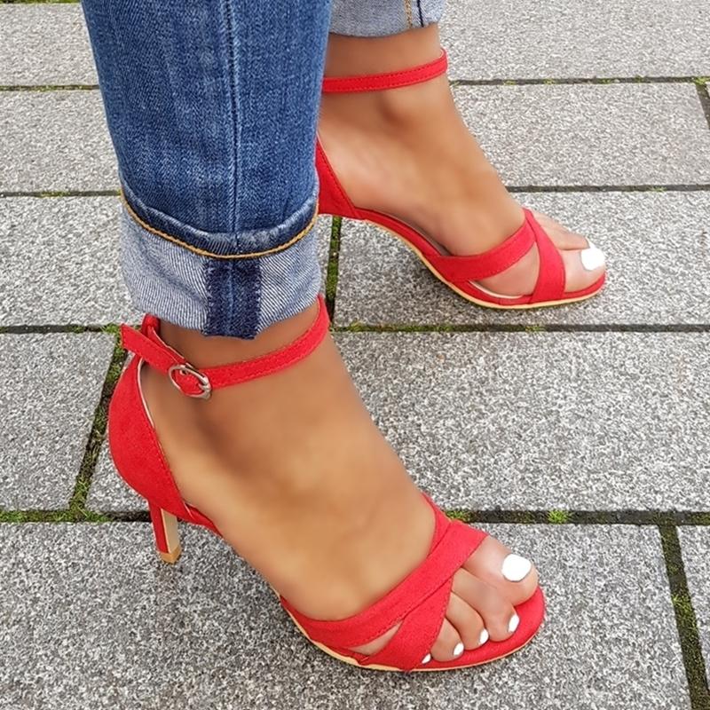 Kleine maat rode sandalen met hak | Kleine maat dames sandalen met hak