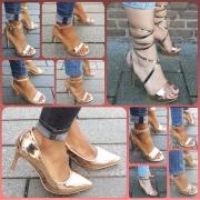 Schoenen met hoge hakken in Rosé goud | Rosegold | Champagne
