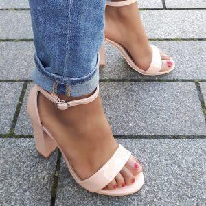 Sandalen met hak 9 cm | Nude lak met blokhakken | Silhouette