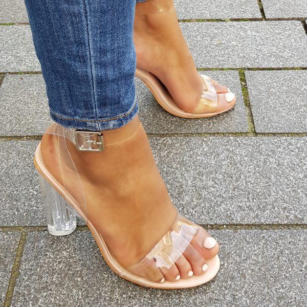 Sandalen van doorzichtig perspex met blokhakken in nude | Perspex heels