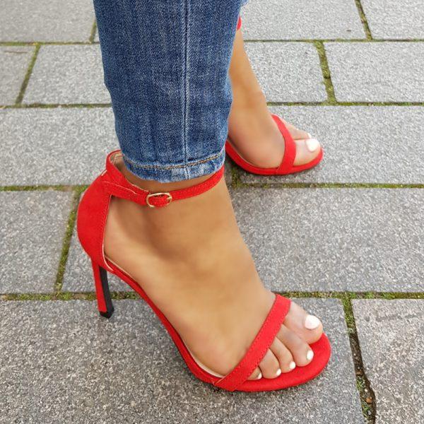 Rode sandalen met hoge hak en smalle bandjes | Hoge hakken winkel