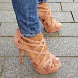 Oud roze sandalen met hoge hak | Oud roze pumps met bandjes