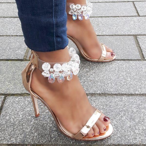 Hoge hakken in rose goud met grote stenen en naaldhakken | Party Heels