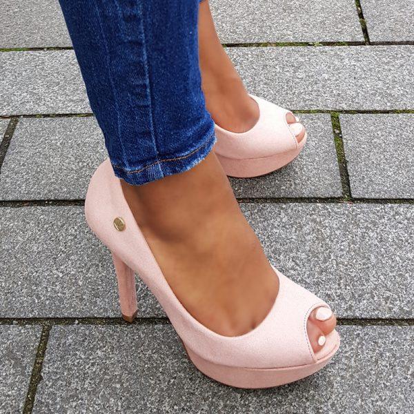 Peeptoe pumps in roze met naaldhak en plateau | Peep toe Pumps pink