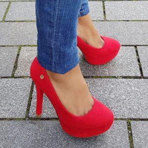 Plateau pumps rood met naaldhak en ronde neus | Rode platformpumps