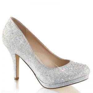 Zilveren glitterpumps met kleine plateau en naaldhak | Pumps zilver glitter