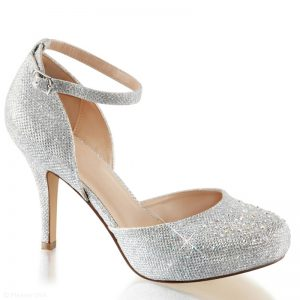 Zilveren glitterpumps met bandje om de enkel en naaldhak | Hak met glitter