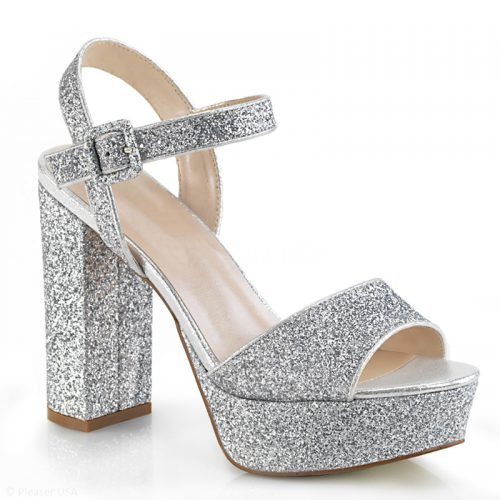 Zilveren glitter sandalen met bandje | Glitter hakken zilver | Silhouette